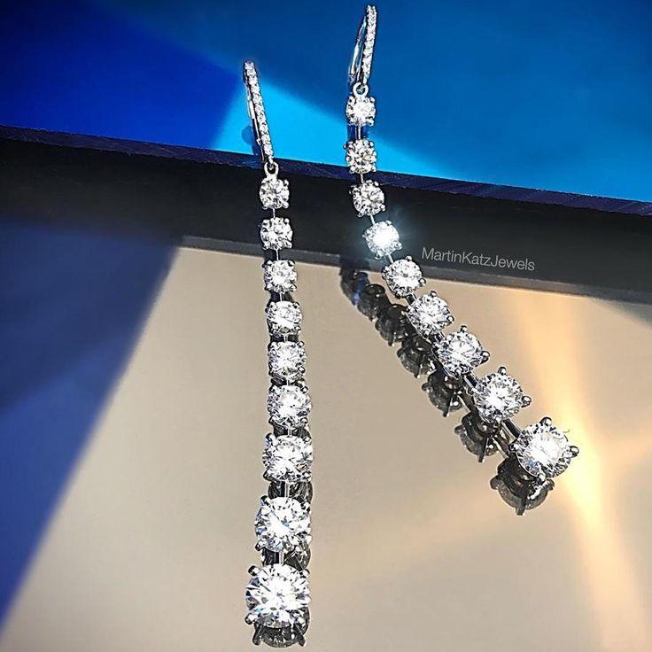 (@martinkatzjewels)  Classic Icicle Diamond Drop Earrings