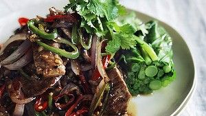 Neil Perry's black pepper and chilli lamb.