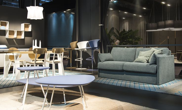 URBAN SOFT sofa bed / TWEET side and coffee tables  / FILO coffee table / ANDROMEDA suspension light
