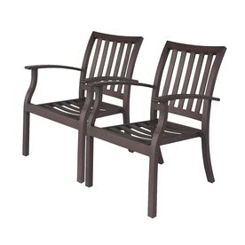 Allen Roth Set Of 2 Gatewood Brown Slat Seat Aluminum Stackable Patio  Dining Chairs