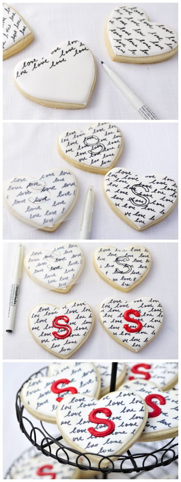 Heart Monogram Cookies: