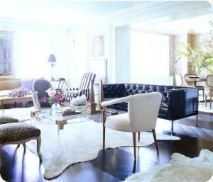 Anne Coyle.  Lucite, brass, modern, tufting.Coffe Tables, Nate Berkus, Coffee Tables, Elle Decor, Livingroom, Make A Room, Living Room, Cowhide Rugs, White Wall