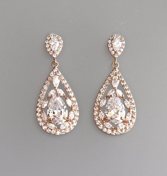 Rose Gold Crystal Teardrop Bridal Earrings, Pink Gold Crystal Vintage Wedding Drop Ohrringe, Clip über Option COCO RG