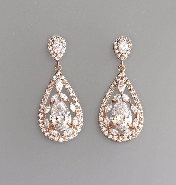 Rose Gold Braut Ohrringe, Crystal Teardrop Ohrringe, Rosa Gold Ohrringe, Hochzeit Ohrringe, Vintage Hochzeitsschmuck, ISABELLA RG