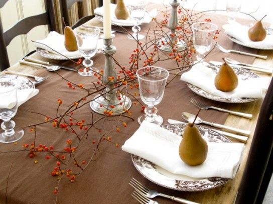 SImple pears.: Decor Ideas, Tables Sets, Fall Decor, Thanksgiving Table Settings, Fall Thanksgiving, Fall Tablescapes, Tables Decor, Thanksgiving Tables, Holiday Tables