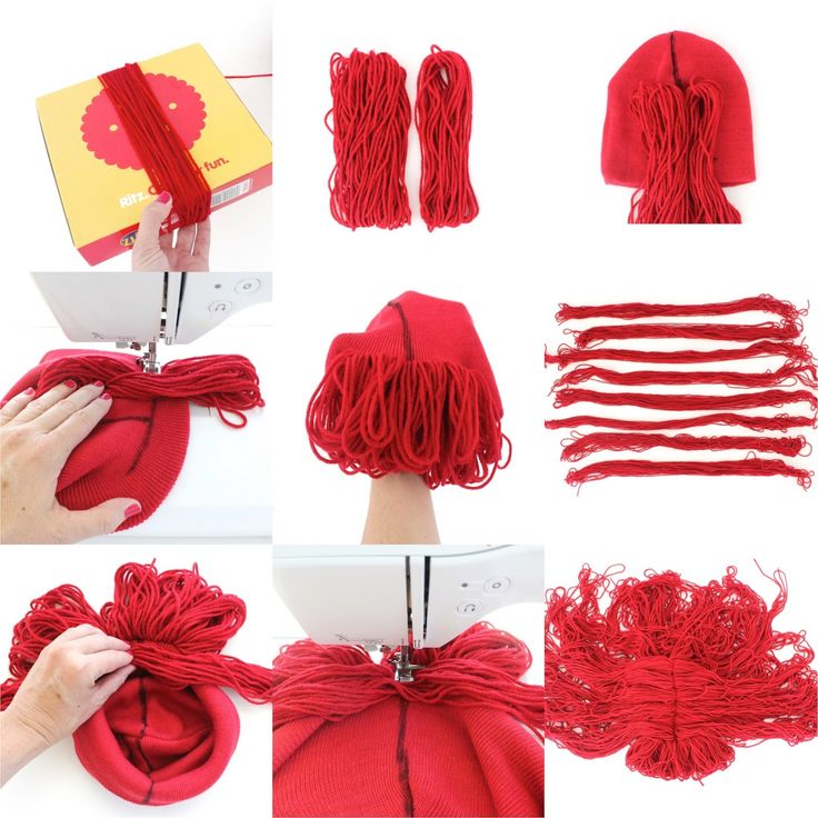 tutorial how to make a yarn wig 4 ways made crafts pinterest yarn wig wig and yarns. Black Bedroom Furniture Sets. Home Design Ideas