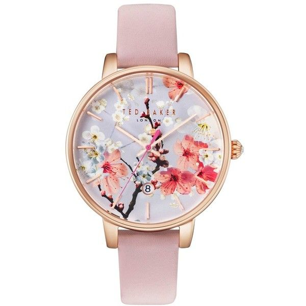 Women's Ted Baker London Kate Round Leather Strap Watch, 38Mm ($155) ❤ liked on Polyvore featuring jewelry, watches, floral watches, ted baker, ted baker watches, round watches and ted baker jewellery