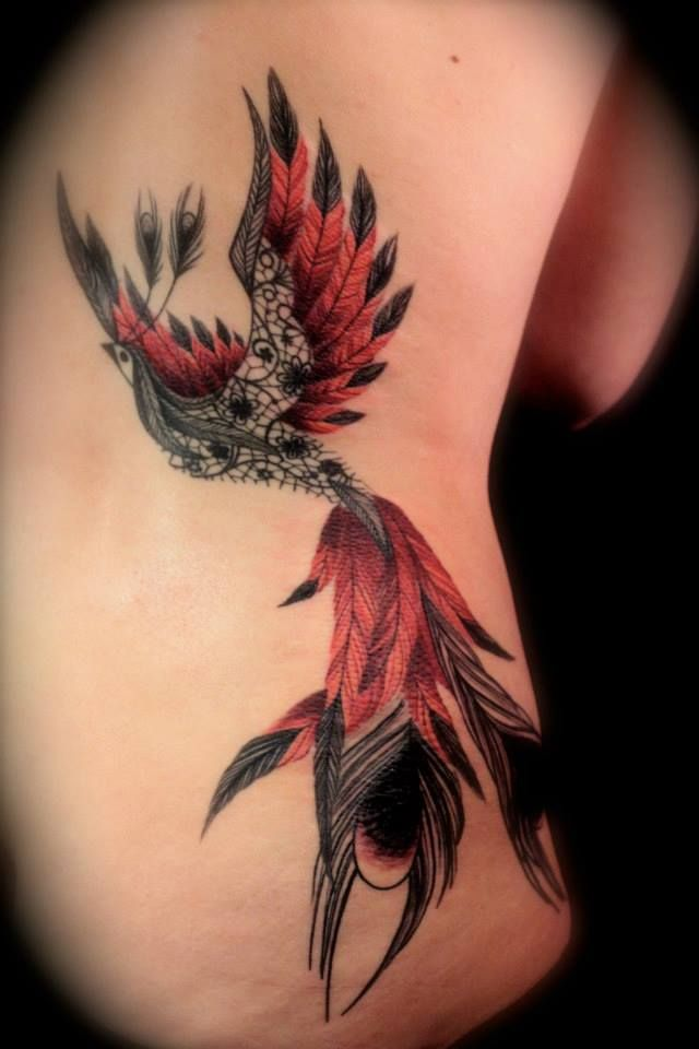 "Tattoo by Dodie ""L'heure Bleue"" love the red and black ink"