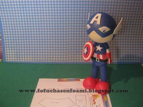 Capitan America En Foamy O Gomaeva Con Moldes Fofuchos Superheroes - YouTube