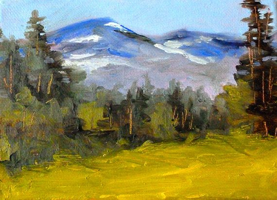 Mountain Landscape Painting Original Oil On Stretched