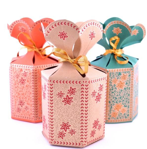 """""""The Flower Top Box"""" ** NEW COLORS! SEE 2ND & 3RD PHOTO** This individual favor box is a standing hexagon pouch design with gold ribbon when easily assembled. Each side of this ribbon gift box has a g"""