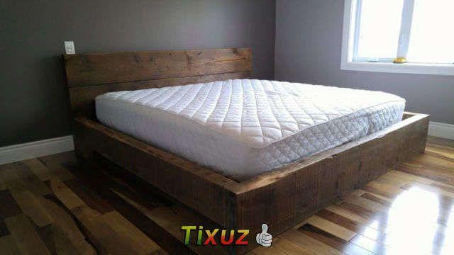 lit bois de grange en madrier de 3 1 2 fait sur mesure chambre pinterest lit 3 and all. Black Bedroom Furniture Sets. Home Design Ideas