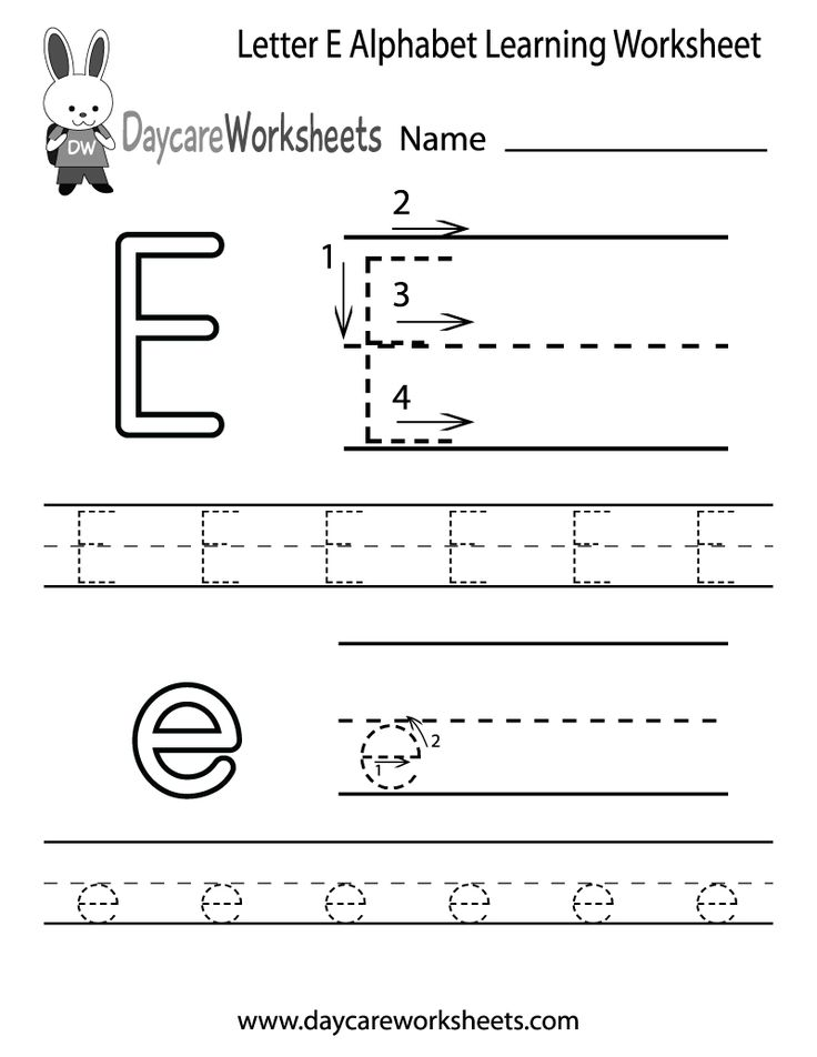 Preschoolers can color in the letter E and then trace it following the stroke order with this free alphabet worksheet. Learn the alphabet with printables.