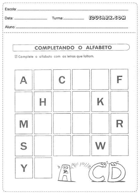 Complete o alfabeto com as letras que faltam