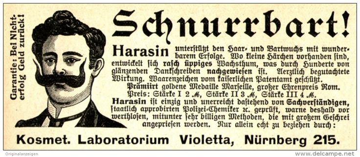 """Original-Werbung/Anzeige 1905 - SCHNURRBART DURCH HARASIN - LABOR """"VIOLETTA""""…"""