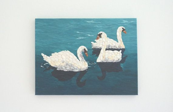 Acrylic Painting, Artwork with Seashells, Art Wall Picture of Swans, Swans in Seashell Mosaic, Mosaic Art, 3D Art Collage, Home Decor, Wall Decor #ArtworkwithSeashells #mosaiccollage #seashellmosaic #homedecor #walldecor #3D