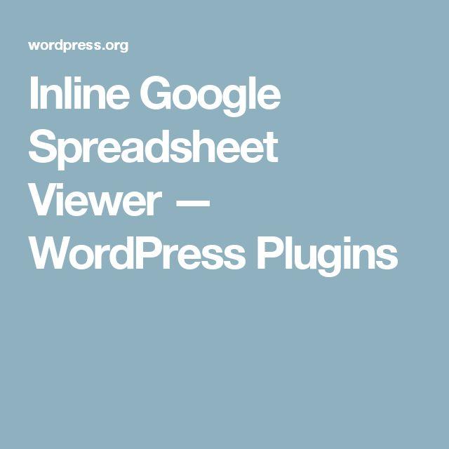 inline google spreadsheet viewer wordpress plugins
