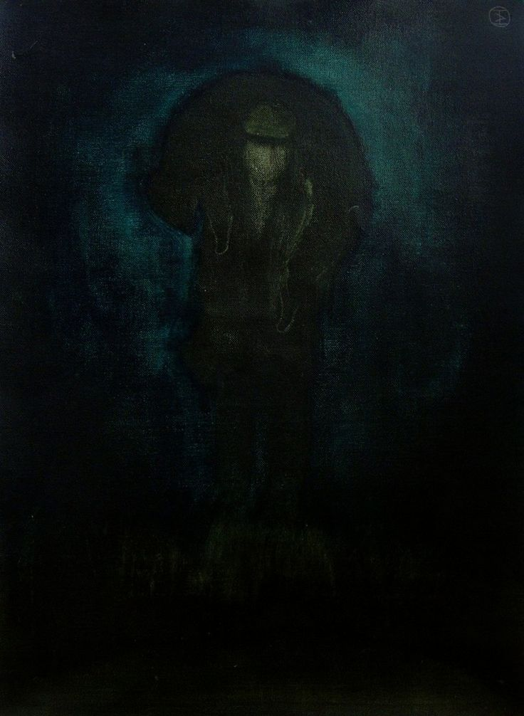 "Apostolis Itskoudis, ""Hunter"" (Κυνηγός), acrylics on canvas, 45Χ60,5 cm, 2015."