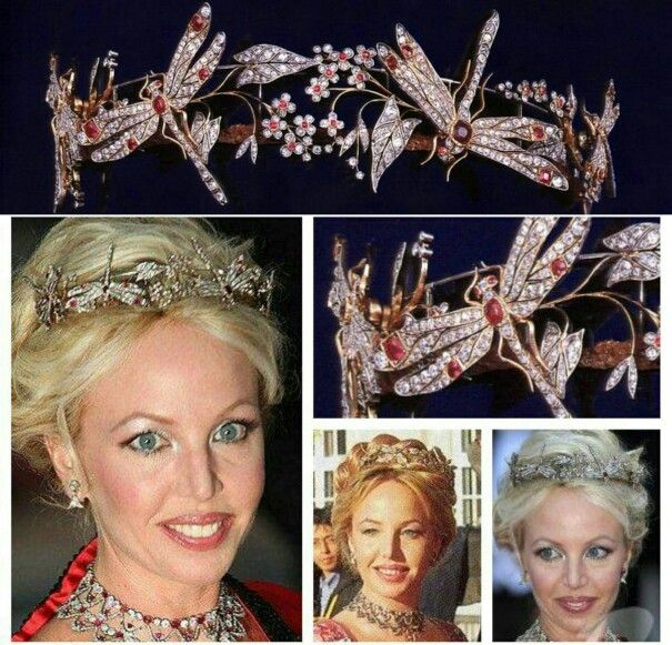 The Ruby Dragonfly Tiara. This art nouveau tiara by Chaumet has diamond and ruby dragonflies, and belongs to Camilla of Bourbon-Two Sicilies, born Camilla Crociani, the wife of Prince Carlo, one of the claimants to the House of Bourbon- Two Sicilies. Carlo is a godfather to Princess Josephine of Denmark. The couple is also close to the Monegasque royals; they married in Monaco in 1998, and Prince Albert served as best man.