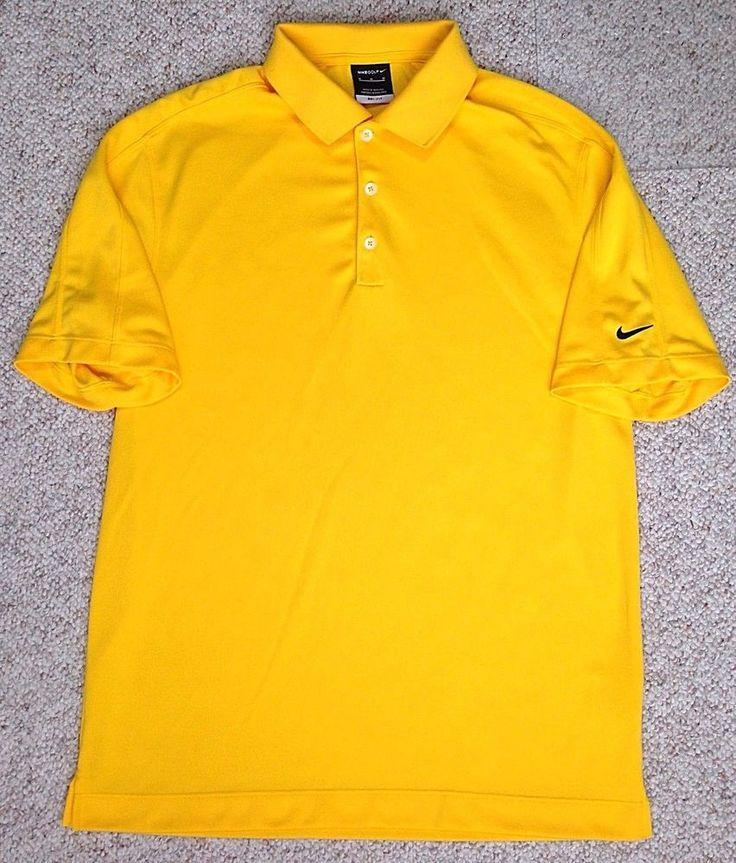 Nike golf dri fit polo t shirt yellow black swoosh for Maroon dri fit polo shirt