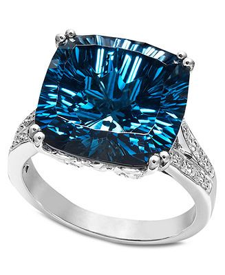 Sterling Silver Ring, Blue Topaz (12 ct. t.w.) and Diamond Accent Cushion Cut Ring - FINE JEWELRY - Jewelry & Watches - Macy's