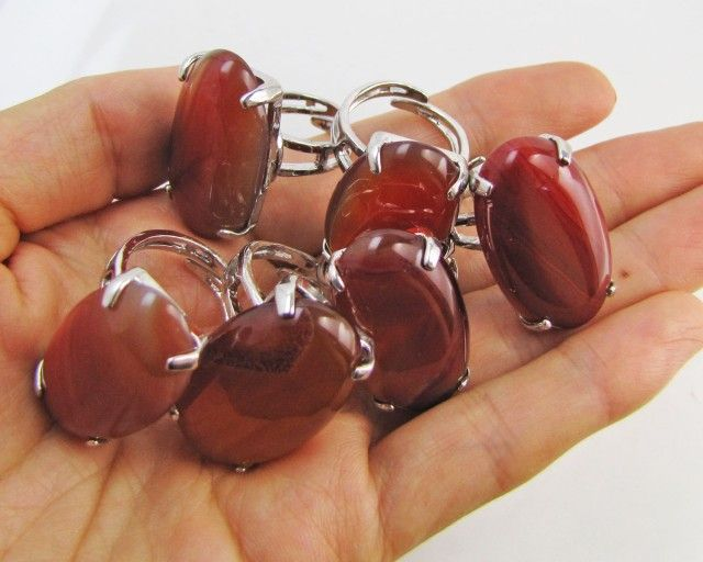 Parcel deal Six Large  Agate  Rings  MJA 1195
