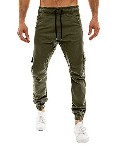 MODCHOK Men's Casual Outdoor Chinos Slim Fit Sweat Pants Sports Jogger Trousers Army Green M