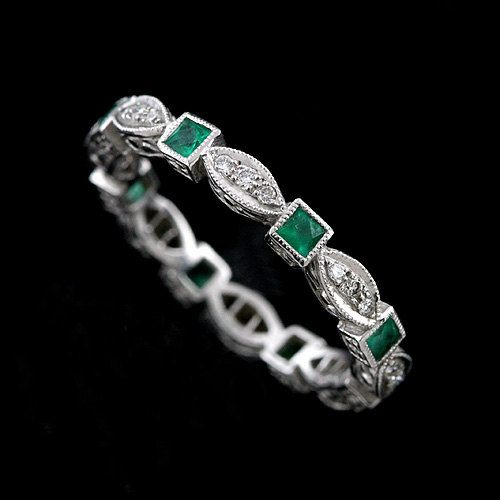 Eternity band contains princess shape 0.35CT natural green emeralds french cut stones and 0.15CT pave set natural diamonds (G-VS quality). Vintage style