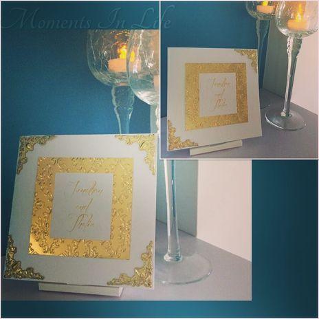 Gold Damask Corner Embellished Invitation  http://www.momentsinlife.net.au/collections/wedding-invitations/products/gold-damask-corner-embellished-invitation