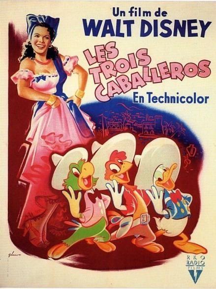 Affiche du dessin animé Les Trois CaBalleros sortie en 1945