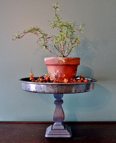 DIY Pedestal Stand using a candle stick and old baking pan by Adirondack Girl @ Heart
