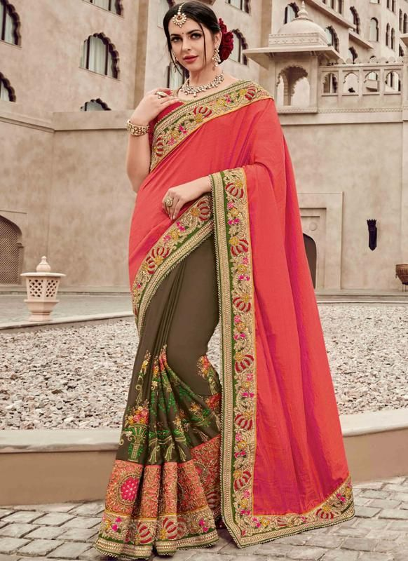 0345e0b48b725 Amazing Pink And Brown Satin Silk Party Wear Designer Saree