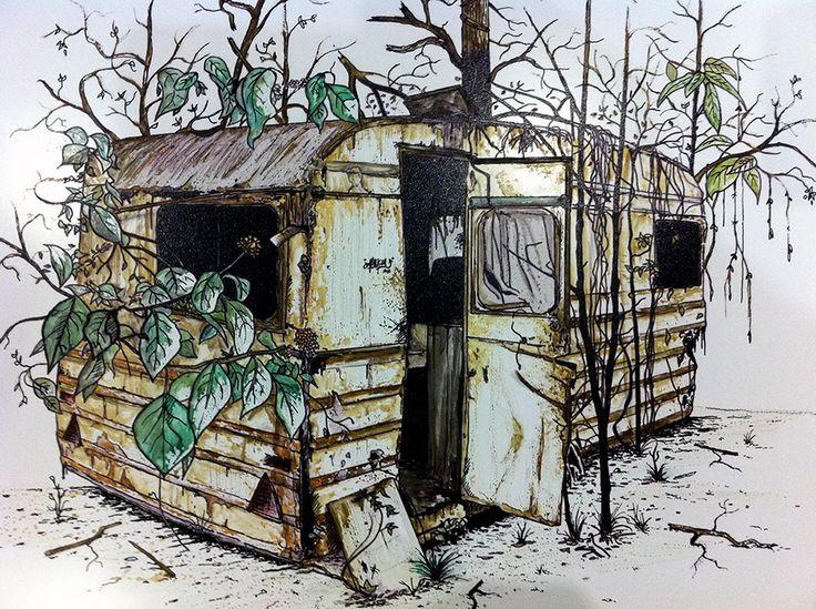 Remains of a caravan, 2014 Exemplaire unique sur Dibond® Aquarelle et encre de chine Format : 42 cm par 29,7 cm David Magnou