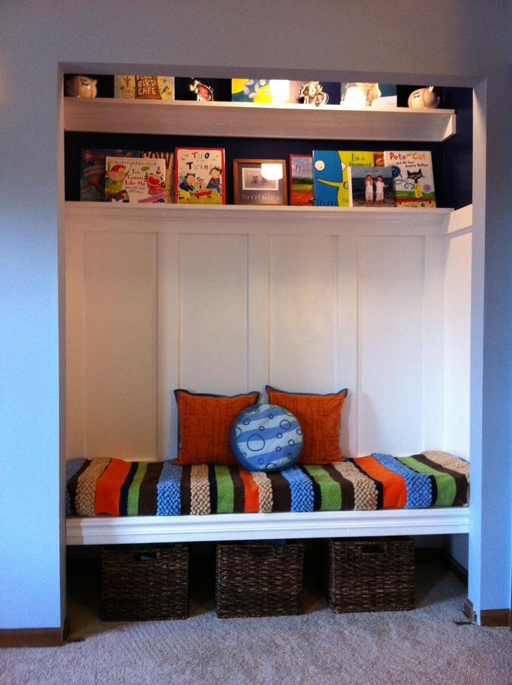 Boys Closet turned Reading Nook