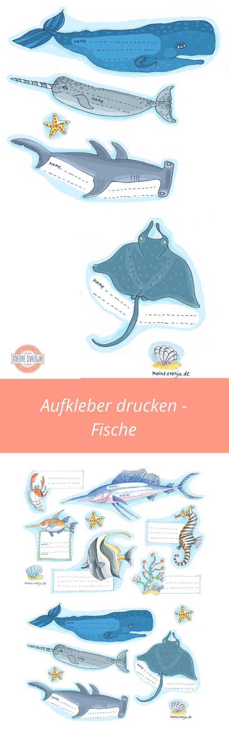 Fische Zeichnung - Aufkleber drucken als kostenloser Download. Fische und Unterwasserwelten als Heftetiketten nutzen.