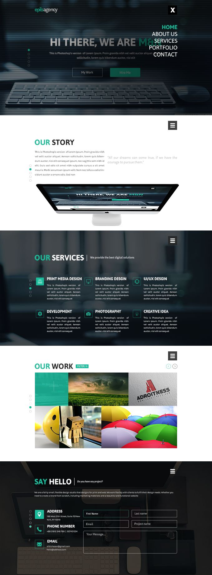 Free Creative Agency Website Template, #Free, #Layout, #PSD, #Resource, #Template, #Web #Design