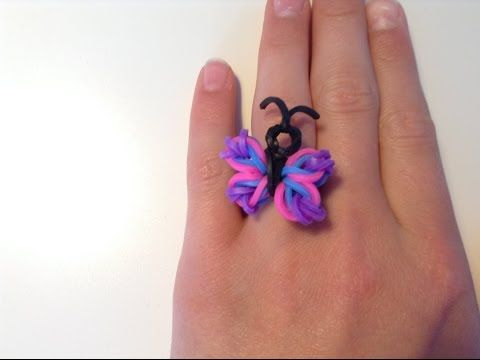 loom bands designs - Rainbow Loom Butterfly - YouTube