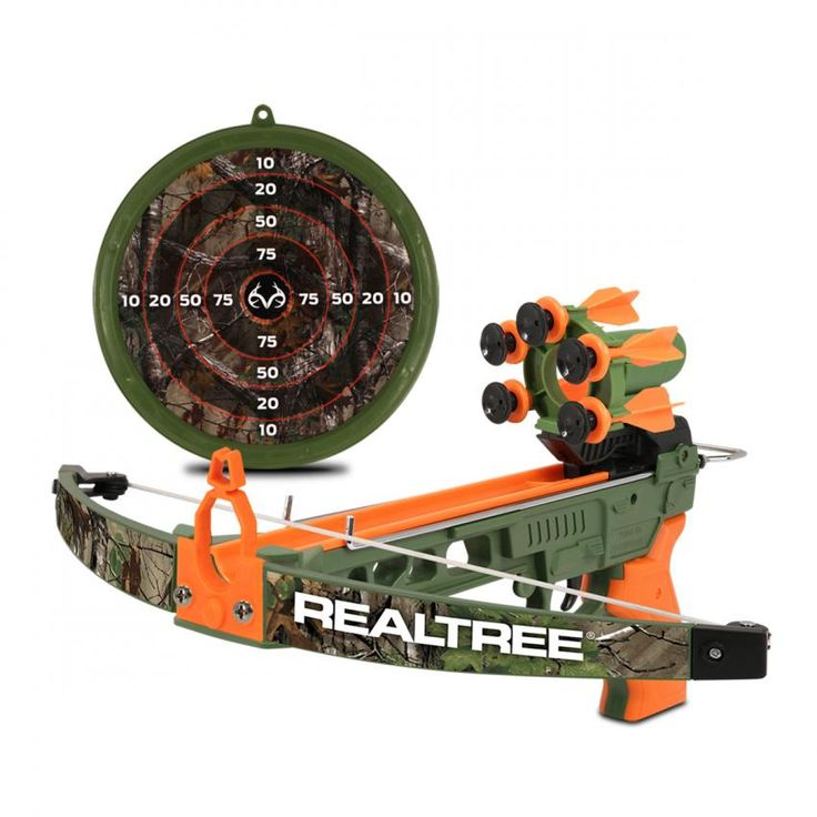 """Realtree 26"""" L Compound Crossbow Set -- Realtree's very first toy compound crossbow has been completely reengineered. This new and improved design features more advanced safety mechanisms and a red LED scope."""