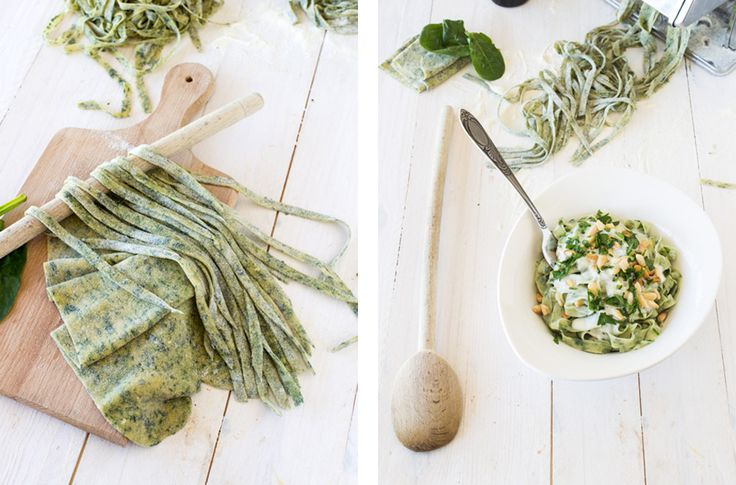 Spinach-Tagliatelle-with-Gorgonzola-Sauce- Pine-Nuts