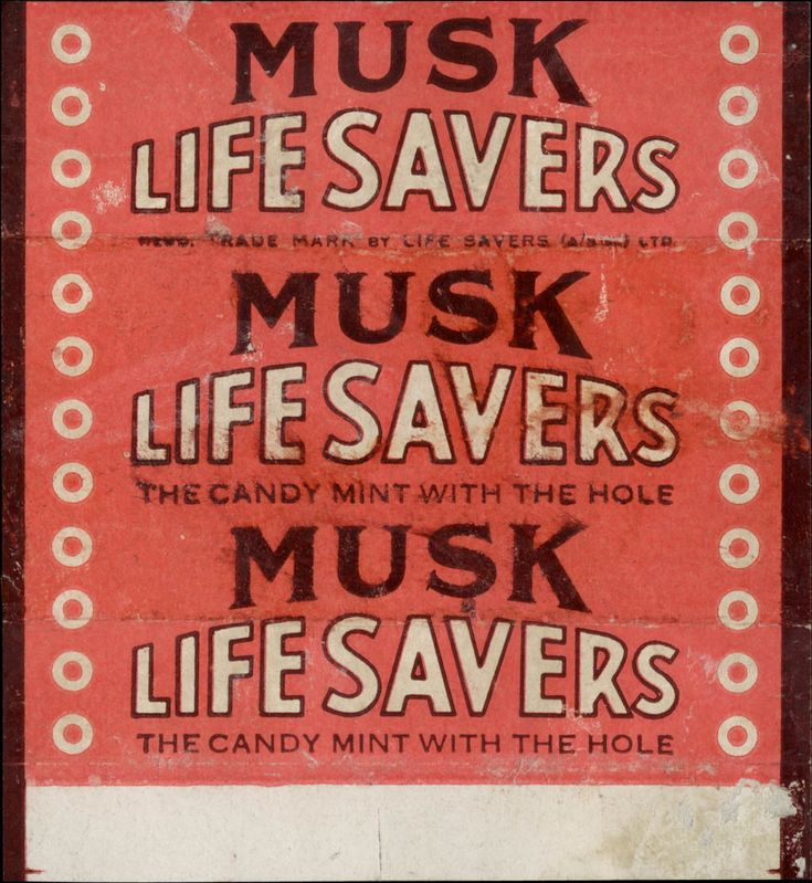 Australia - LifeSavers - Musk flavor - candy roll wrapper - 1950's