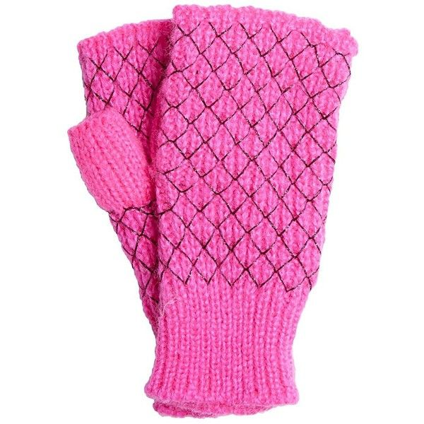 Betsey Johnson Net Worth Fingerless Gloves featuring polyvore, fashion, accessories, gloves, pink, betsey johnson, punk gloves, pink gloves, pink fingerless gloves and fingerless gloves