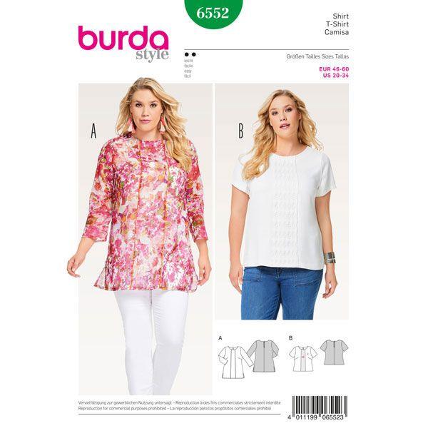 Plus Size - shirt / blouse, Burda 6552 - Burda-Naaipatronen – Top, Blouse & Overhemd- stoffen.net
