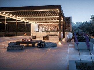 Beautiful Terrassen berdachung aus Aluminium mit schwenkbaren Lamellen mit integrierter Beleuchtung VENTUR