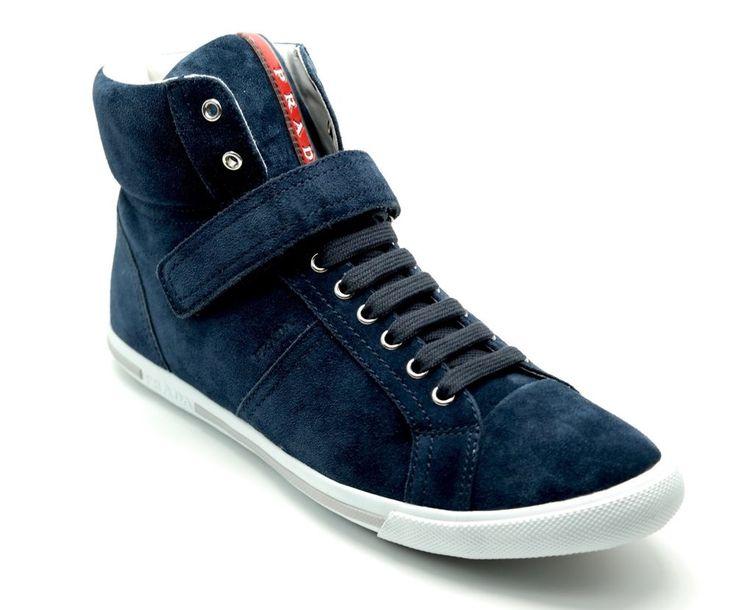 PRADA Woman's Sneakers Hi-Top Trainers Suede Navy Blue Size 11US/41UK NIB #PRADA #HiTopTrainer