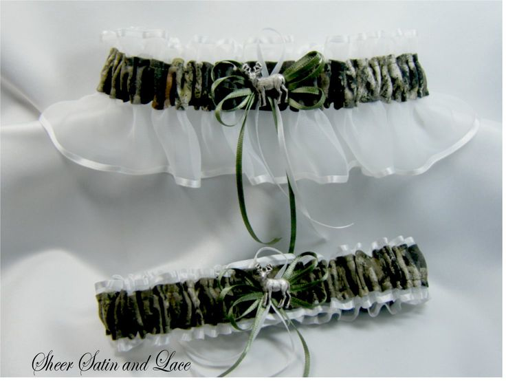 WHITE Mossy Oak Camouflage wedding garters by SheerSatinandLace, $26.99