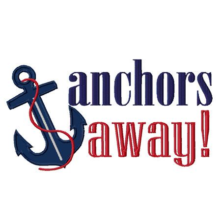 Anchors Away Nautical Sailing Sailboat Applique Machine
