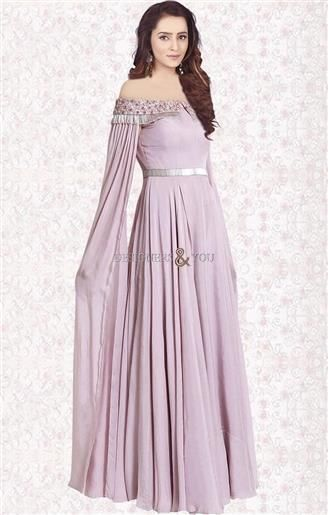 b3c8842571a6  Order Now Crowning Baby Pink Stitched Off Shoulder  Indo Western  Gown