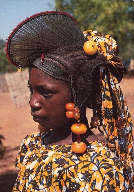 Africa | Fulani girl with traditional hairstyle.  Senegal |  Scanned postcard.