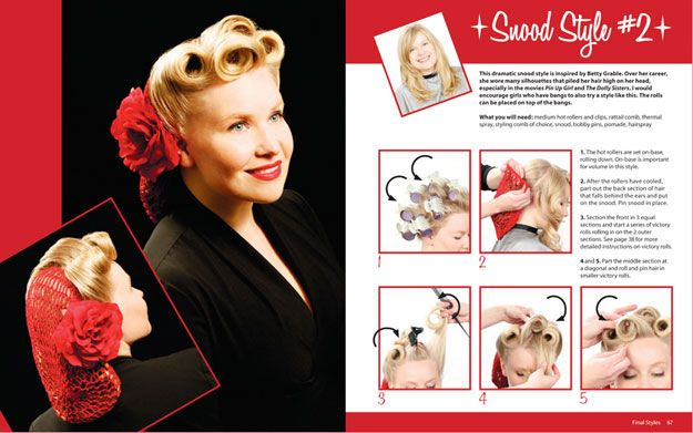 Vintage Hairstyling: Retro Styles with Step by Step Techniques is a guide showing how to create hairstyles from the 1930s, 1940s, 1950s, and 1960s using simple, easy-to-follow instructions. Description from burlesque-fashion.com. I searched for this on bing.com/images