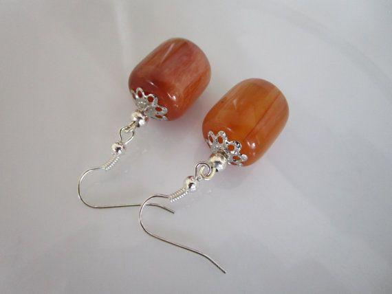 Semi precious stone earrings - tubular amber resin, Dangle Earrings, amber resin dangles, orange brown amber resin tubular earring, mom, her